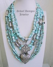 Schaef Designs Larimar Nugget Tube Bead Necklace Pairings | New Mexico