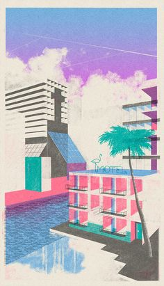 Amsterdam-based illustrator Leonie Bos re-creates forms of century architecture through minimal and modernist prints. With a touch of retrospective styling, the illustrations remain entirely simplistic, Art And Illustration, Graphic Design Illustration, Art Actuel, Gig Poster, Architecture Drawings, Cinema Architecture, Architecture Illustrations, Architecture Panel, Architecture Portfolio