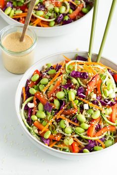 Rad Rainbow Raw Pad Thai~ Julienned zucchini & carrots, thinly sliced red bell pepper, edamame... Almond/sesame/lime dressing (will try this as a dipping sauce for summer rolls too)
