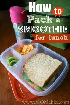 The night before, simply place the thermos cup in the freezer.  In the morning, when you make the smoothie, remove the thermos from the freezer and fill with your delicious smoothie.  Next pack with your kid's lunch. The chilled thermos will do it's job k