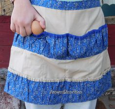Egg apron, reversible apron,gathering apron,mother/daughter apron,harvest apron,clothspin apron,chicken apron,farm apron, childs apron,apron
