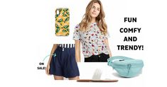 This weekend, go for a comfy yet dynamic look, with colourful layered geometric shapes! We absolutely love the vibe! Urban Looks, Colourful Outfits, Jansport, 80s Fashion, High Waisted Shorts, Summer Looks, Geometric Shapes, Casual Looks, Graphic Tees