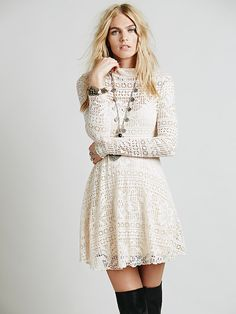 """Free People Dinner Date Dress, $88.00. I like the white-looking one, which is called """"whisper pink"""". But the orange is cool too!"""
