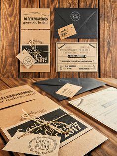 Para C&A hicimos una invitación en varias piezas, con acabados Blanco&Negro sobre kraft