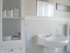 Cottage bathroom renovation - Simply Swider | Wainscoting ...