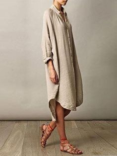1f68819c7a2 Khaki Casual Solid Long Sleeve Crinkled Plus Size Stand Collar Casual Dress
