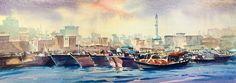 """Dubai Creek "" watercolour Trevor Waugh"