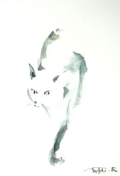 Cat Minimalist Original Watercolor Painting Cat Art by CanotStop, $50.00