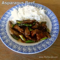 Asparagus Beef - That Recipe - quick easy healthy stir fry with flank steak and fresh asparagus.