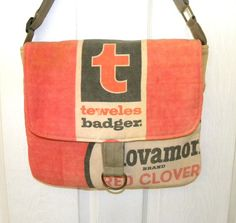 Vintage Teweles Badger Red Clover seed sack upcycled by LoriesBags