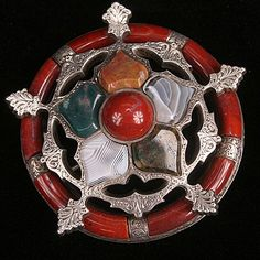 Unusual Scottish Agate brooch--hand engraved from hillarys on Ruby Lane