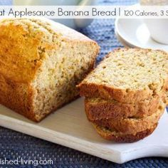 Easy healthy low fat applesauce banana bread short cut recipe minimal ingredients stir together quickly, 120 calories, 3 Weight Watchers Points