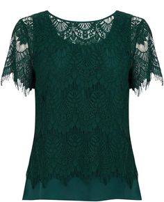 Top off your look with our on-trend edit of t-shirts, blouses, vests and strappy camis. Lacy Tops, Lace Tee, Layered Tops, Green Lace, India Fashion, Green Fashion, Oasis, Tunic Tops, T Shirts For Women