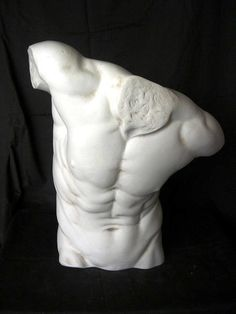 This stunning reproduction marble figure is a well executed, large, sculpture of a naked male torso.    Now, Prima Dimora specialise in the