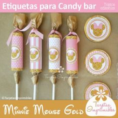 Minnie Mouse Gold etiquetas para candy bar