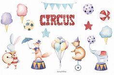 Circus animal watercolor clipart Festive clipart Baby clipart