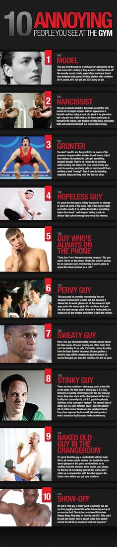 annoying people | The 10 Annoying People You See At The Gym (INFOGRAPHIC) | Manolith