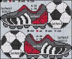 Billedresultat for punto cruz bebes futbol Cross Stitch For Kids, Cross Stitch Baby, Cross Stitch Charts, Counted Cross Stitch Patterns, Cross Stitch Embroidery, Embroidery Patterns, Hand Embroidery, Knitting Charts, Cross Stitching