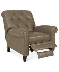 "Martha Stewart Collection Leather Recliner Chair, Bradyn 36\""W x 41\""D x 41\""H"