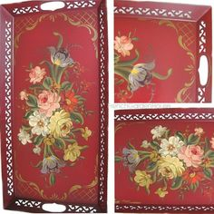 Vintage red toleware tray with roses and tulips.