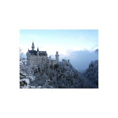 Neuschwanstein Castle in Winter, Schwangau, Allgau, Bavaria, Germany,... ($28) ❤ liked on Polyvore featuring home, home decor, wall art, backgrounds, places, photographic wall art, european home decor, architectural wall art and photography wall art