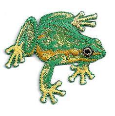 FROG ~ SHIMMERY/EMBROIDERED IRON ON APPLIQUE