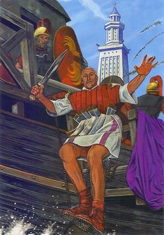 Battle of Alexandria Caesar left behind his purple cloak which was later captured by the Alexandrians as a battle trophy