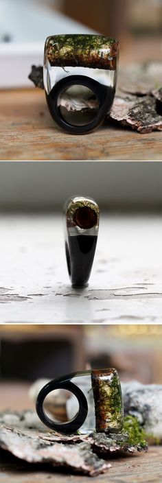Resin Ring, Birch-tree and Moss Resin Ring by sisicata.etsy.com