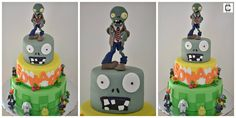 Plants vs zombies themed party cake ideas / Plants vs zombies fondant birthday cakes / Pastel tematico de plantas contra zombies de fondant.