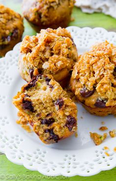 Super moist Chocolate Chip Zucchini Bread Muffins with a buttery oat streusel, brown sugar, and lots of sweet spices. No wonder this recipe won first place!