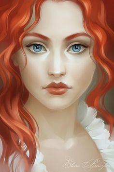 Digital portraits by Russia based artist Elena Berezina. Title Redhead.
