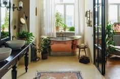 Green Landscape, Wall And Floor Tiles, Metallic Colors, Clawfoot Bathtub, Oversized Mirror, Brick, Home Improvement, Living Spaces, Sweet Home