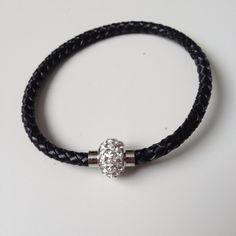 Black Leather Bracelet with Magnet Clasp - Black Braided Leather Bracelet - Crystal Magnet Clasp - Black Leather Bracelet - 7.5 inch