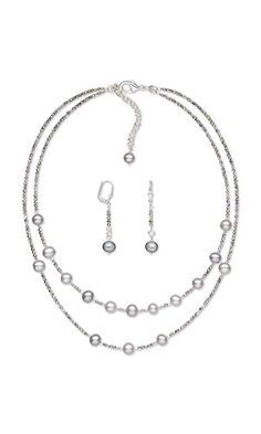 """Jewelry DIY Project - """"Perfect Grey Day"""" necklace and earring set features cultured freshwater pearls and Czech fire-polished glass beads. - Fire Mountain Gems and Beads"""