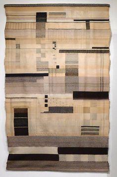 "Gunta Stölzl -Tapestry ""Black/White"" Half-gobelin technique. Flatweave, partly with reversed harness Warp: mercerized cotton. Weft: wool, rayon and metal thread 1924 183x112 cm  Museum of Modern Art, New York"