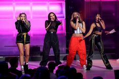 Leigh-Anne Pinnock, Perrie Edwards, Jesy Nelson and Jade Thirlwall of Little Mix perform on stage during The Global Awards 2019 with Very.co.uk held at London's Eventim Apollo Hammersmith. (Photo by Isabel Infantes/PA Images via Getty Images)