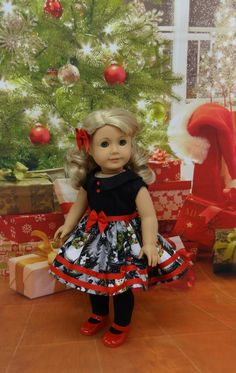 Friendly Snowman - vintage style dress for American Girl doll Custom American Girl Dolls, American Doll Clothes, Ag Doll Clothes, Doll Clothes Patterns, Doll Patterns, American Dolls, Vintage Party Dresses, Barbie, Doll Wigs