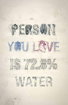 あなたの愛している人は72.8%が水分です。