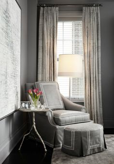 Tonal ICI 81696 Silver Shores. Gray Paint Color. ICI 81696 Silver Shores. #ICI81696SilverShores  love the chair details, table and art and curtains