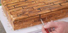 Learn how to make a woodgrain effect on fondant.