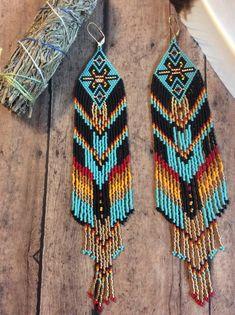 Seed Bead Earrings Name: Open Skies Shoulder Dusters Seed Bead Jewelry, Seed Bead Earrings, Fringe Earrings, Seed Beads, Beaded Jewelry, Hoop Earrings, Native American Earrings, Native American Beading, Gypsy