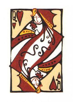 Queen of Hearts - Reduction Linocut