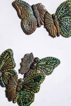 New for Bead & Button Show 2012 - Lisa Peters ART Raku Butterfly Relics - use as cabochons and finish the design or capture with metal and create a fabulous focal