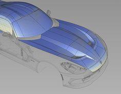 Work In Progress: Nurbs modeling of a Dodge Viper 2013. Modeled o nAlias Automotive.
