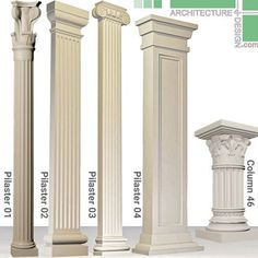 Collection of classical columns and pilasters as Max objects. Various decorative columns for interior and exterior design Fence Wall Design, Door Gate Design, Garage Door Design, Classic House Exterior, Classic House Design, Rome Architecture, Drawing Architecture, House Main Door, Four Bedroom House Plans