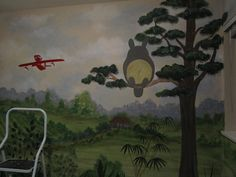 Totoro nursery. Would really love to have this mural painted on the nursery wall