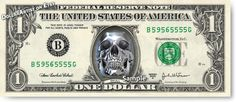 Chrome Skull on Real Money Custom Dollar Bill Art by DollarArtist
