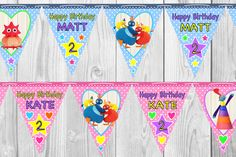 Personalised Twirlywoos Bunting- vibrant colours, beautiful design, can be customised if requested. Plastic coated, nothing like cheap paper bunting.