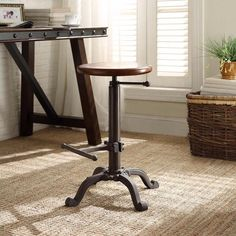Rustic Wood Seat with Adjustable Height And Foot Rest Chestnut Bar Stool 24 Inch #BarStool #RusticWood #Adjustable #FootRest #Chestnut #Seat #Stools #Furniture #Kitchen #Dining #Home #HomeDecor #24Inches