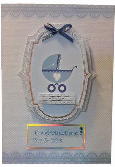 A5 personalised baby boy card with ribbon detail and hand made envelope and a personalised insert to match